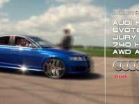 Видео гонки на 402 метра из салона Audi RS6 Evotech.